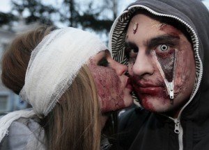 "Young people in costume take part in the ""Evil spirits Parade"" flash mob as they celebrate Halloween in the centre of Russia's Siberian city of Krasnoyarsk"