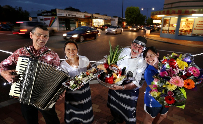 PICTURE BY NIC ELLIS  4 DECEMBER 2014  THE WEST AUSTRALIAN FAIRFAX ONLINE AND AUSTRALIAN FINANCIAL REVIEW OUT Gearing up for the inaugural Inglewood Night Markets, which will operate on Beaufort Street between Sixth and Tenth Avenues, Inglewood, every Monday through the Summer between 6pm and 9pm, starting next week, Monday December 8. Pictured left to right are locals, Luis Stojkovic and his wife Cristina, local butcher Vince Garreffa and Diana Lopez, owner of the Lucky 7 Deli.