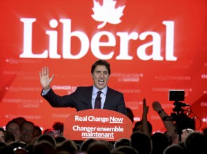 Liberal Party leader Justin Trudeau gives his victory speech after Canada's federal election in Montreal, Quebec, October 19, 2015.  REUTERS/Chris Wattie  TPX IMAGES OF THE DAY
